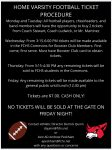 IMPORTANT: Home Varsity Football Ticket Procedure