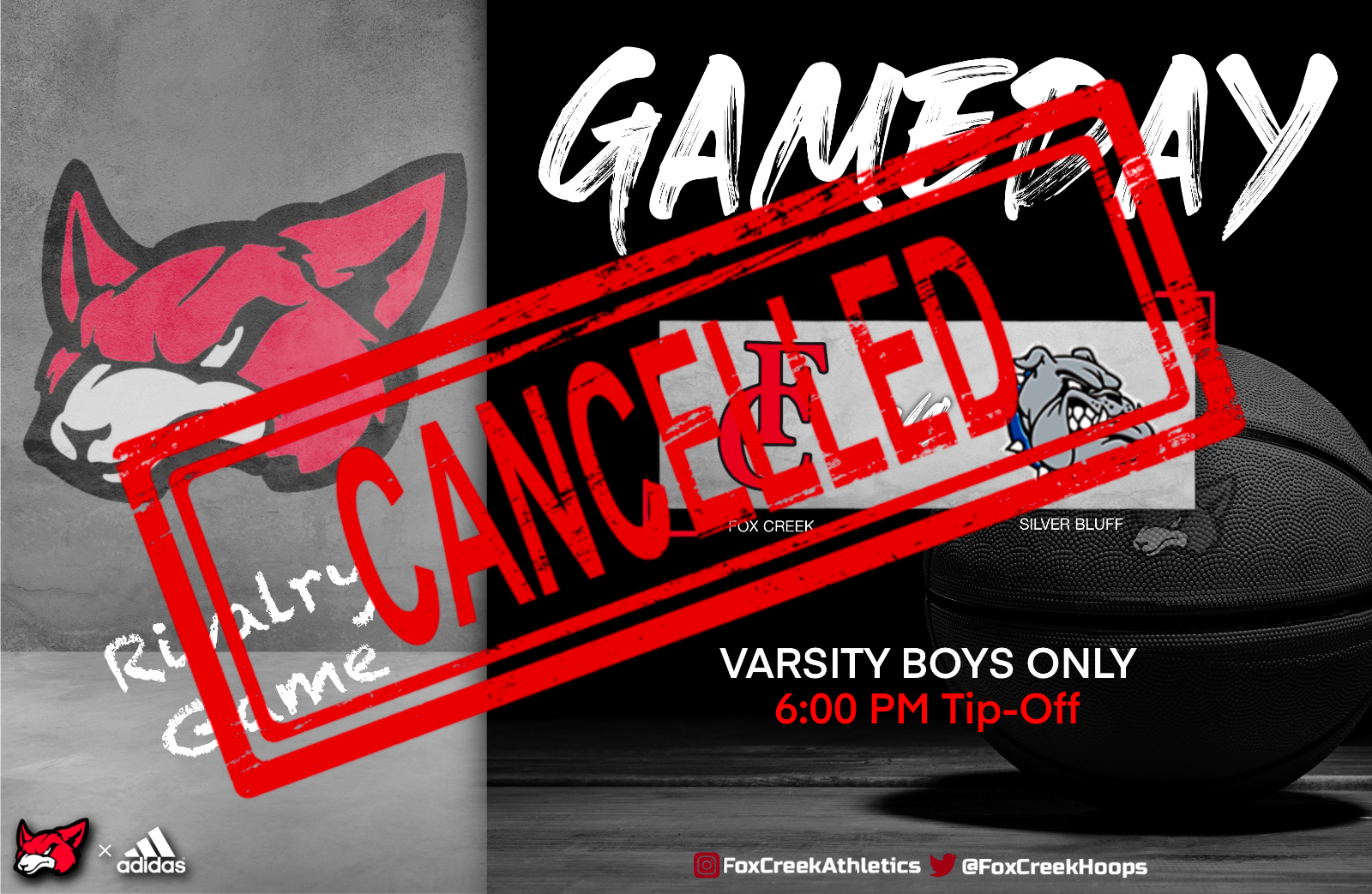 Tonight's Varsity Boys Basketball Game @ Silver Bluff HS CANCELLED