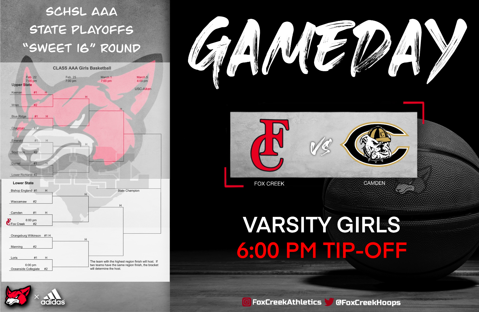 """Varsity Girls Basketball Take On Camden HS TONIGHT in the """"Sweet 16"""" Round of the SCHSL Class AAA State Playoffs"""