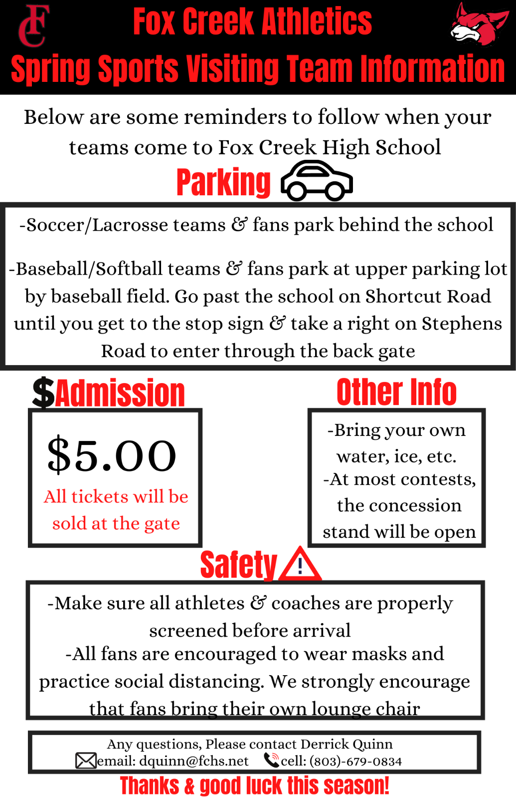 Spring Sports HOME Athletic Event Information