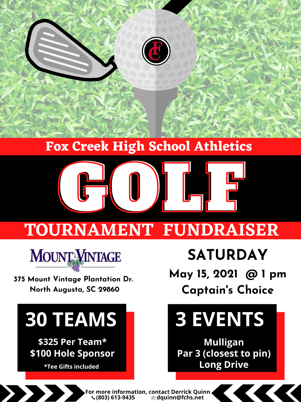 ONLY 3 WEEKS AWAY! Annual Fox Creek Athletics Golf Tournament – Saturday, May 15th