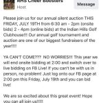 Auction for Cheerleaders – Friday – 6:30am – Indian Hills Clubhouse