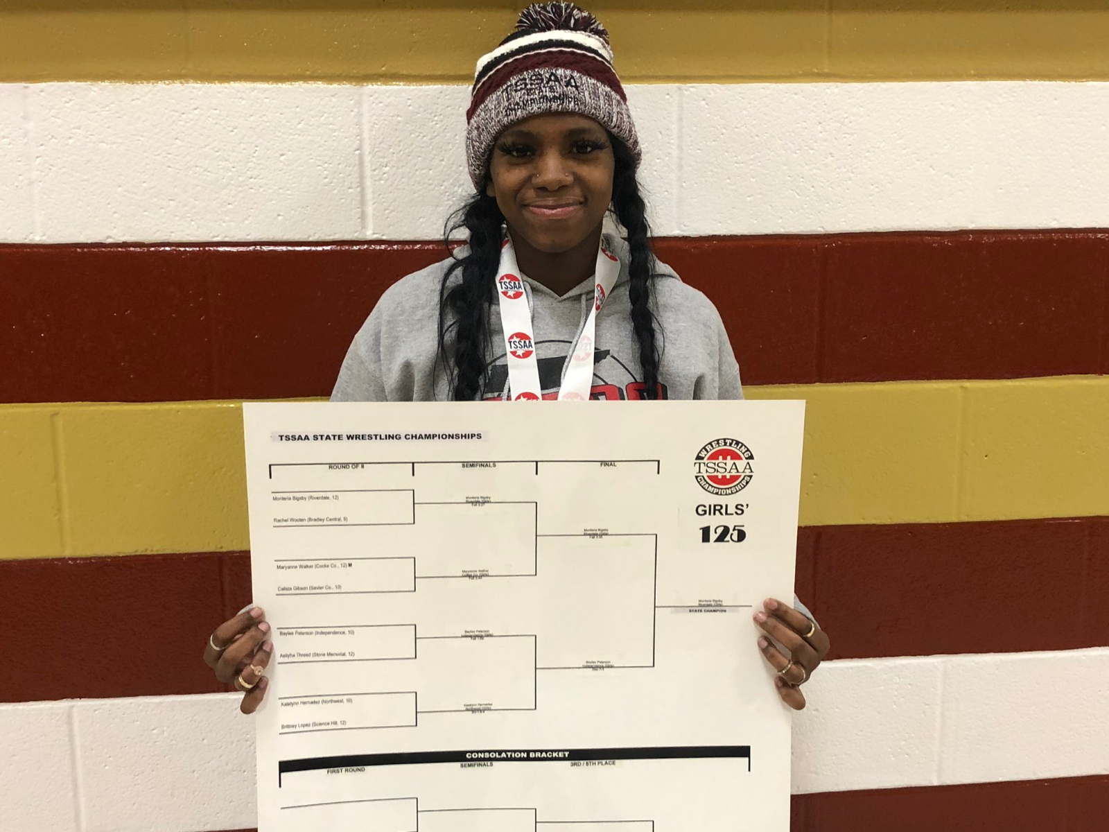 Riverdale girls wrestler started her career this season. She finished with a state title.