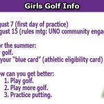 Girls Golf Info 2017