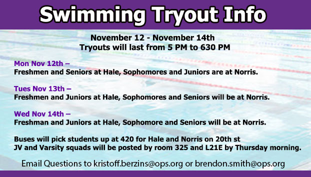 Swimming Tryout Information