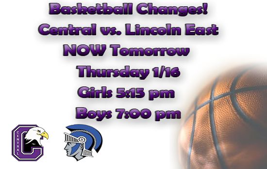 Change in date for basketball game to Thursday 1/16