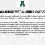 Virtual Senior Night 2020: Boys Lacrosse