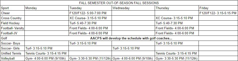 Arundel Fall Out-of-Season Schedule