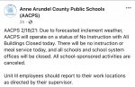 AACPS Activities Cancelled: Thursday, 2/18/21