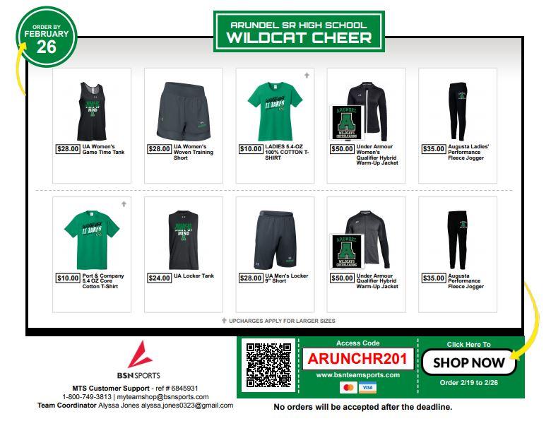 Arundel Cheer Store Open NOW!