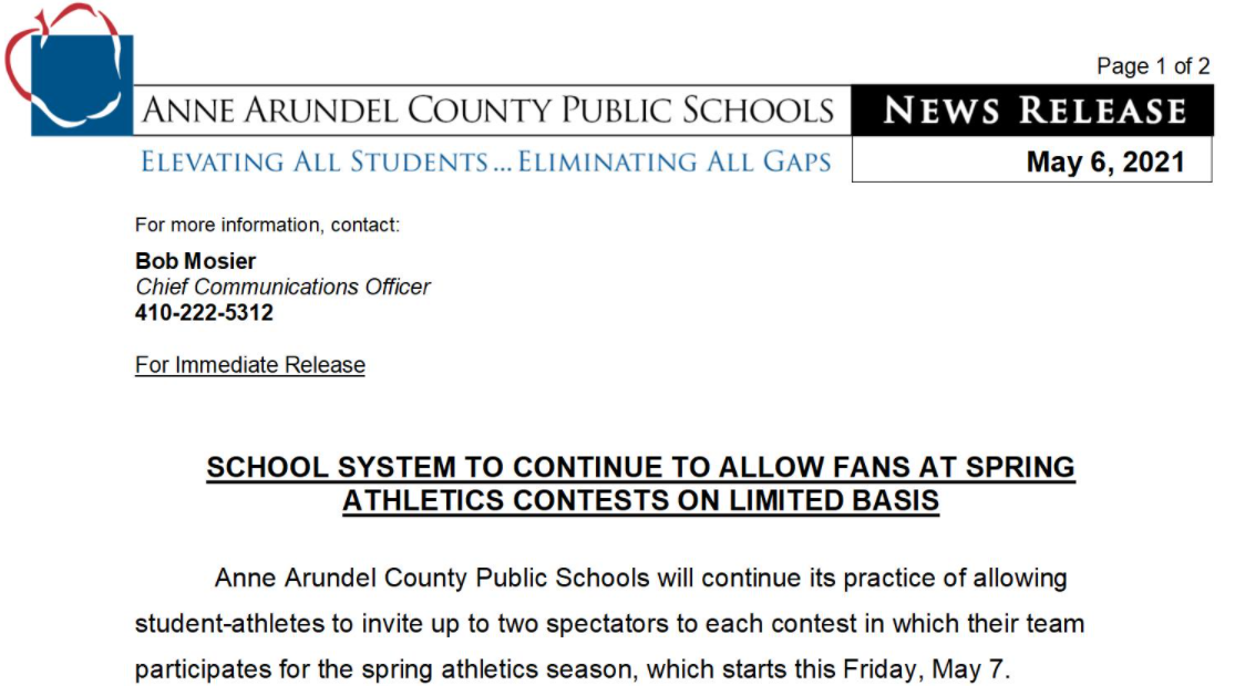 AACPS Spectator Policy