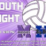 Youth Volleyball Night Tues 10/3 vs. Hamilton