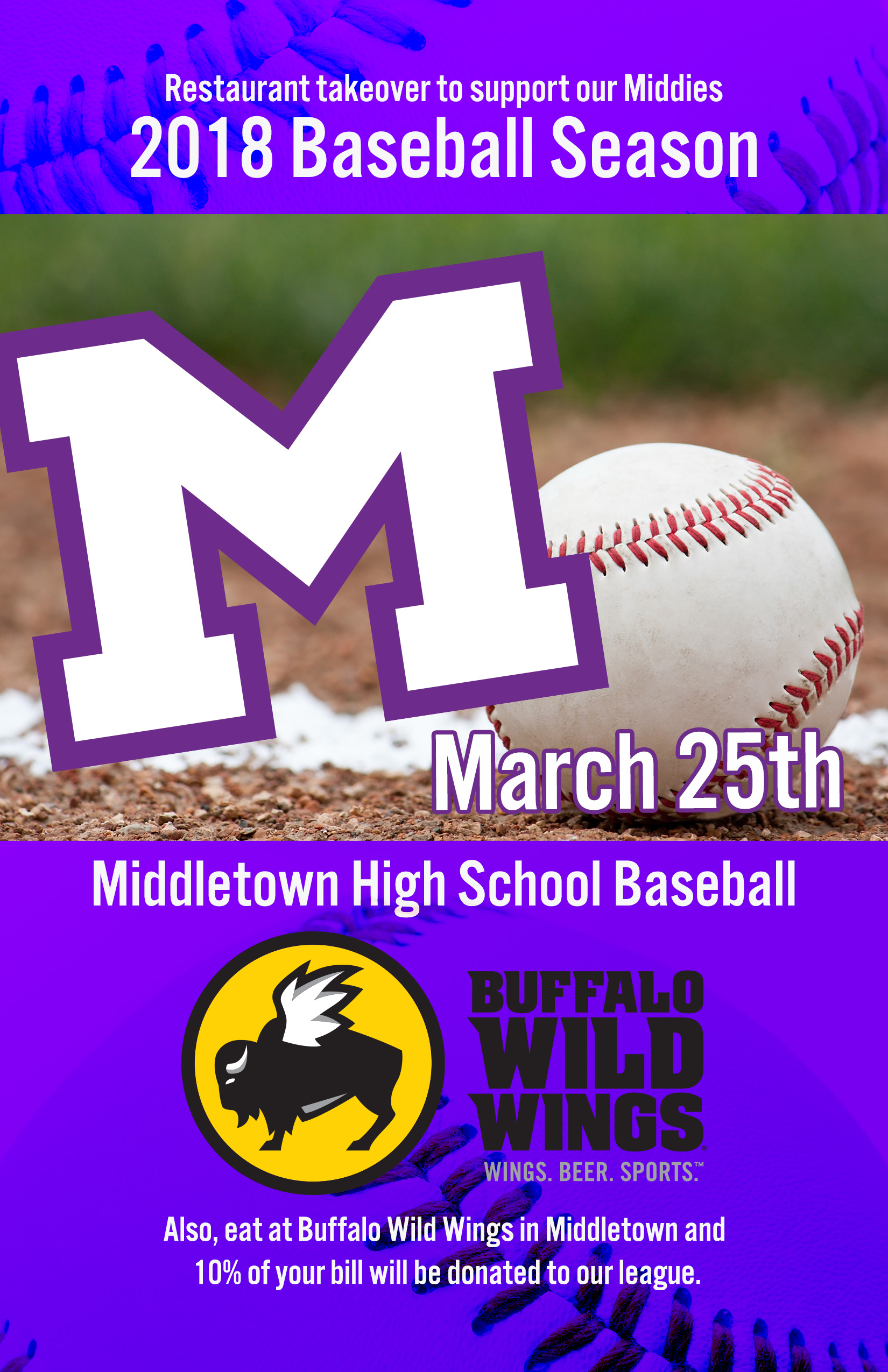 Middies' Baseball Takes Over Middletown BW3's this Sunday 3/25