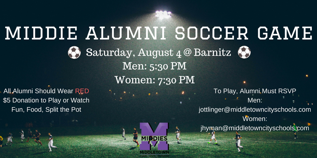 Middie Alumni Soccer Game Saturday August 4th; RSVP Now to Play!