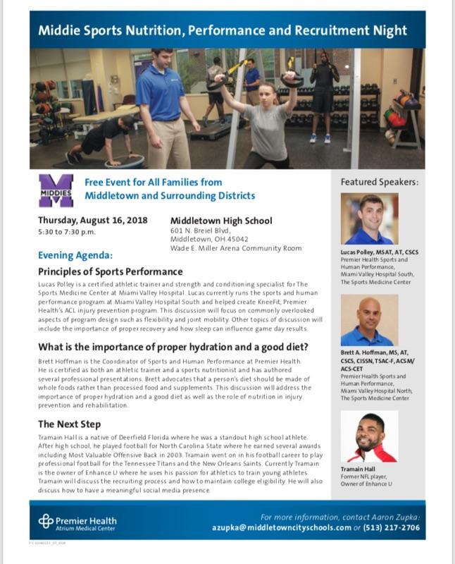 Middies Hosting Sports Nutrition, Performance, & Recruitment Night Thurs 8/16 5:30pm @ MHS Community Room