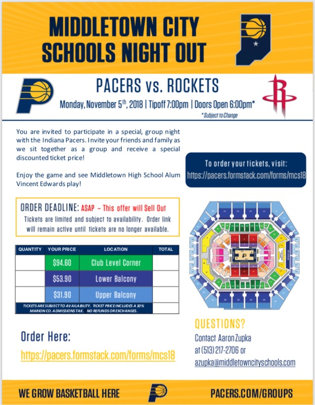 Middletown City Schools Night Out @ Indiana Pacers vs. Houston Rockets Game Mon Nov. 5th; Buy Tickets Now!