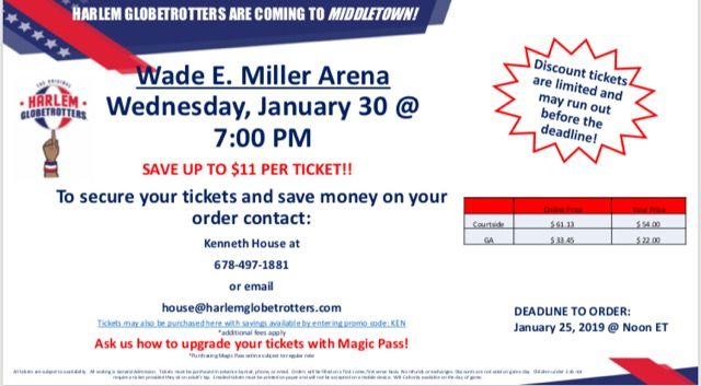 Special Discount for the Harlem Globetrotters @ Wade E. Miller Arena Wed. 1/30