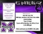 Middle School Cheerleading Tryouts!!