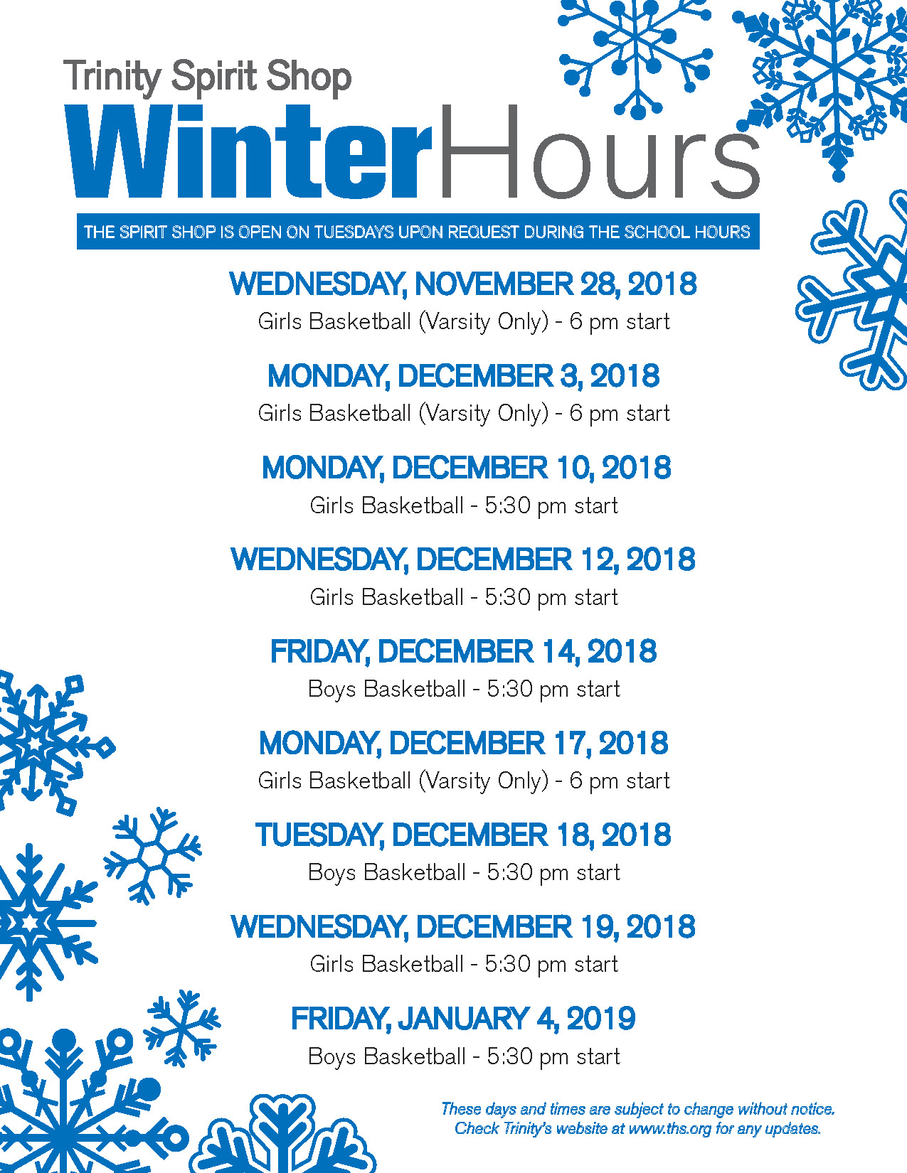 TRINITY SPIRIT SHOP HOURS: