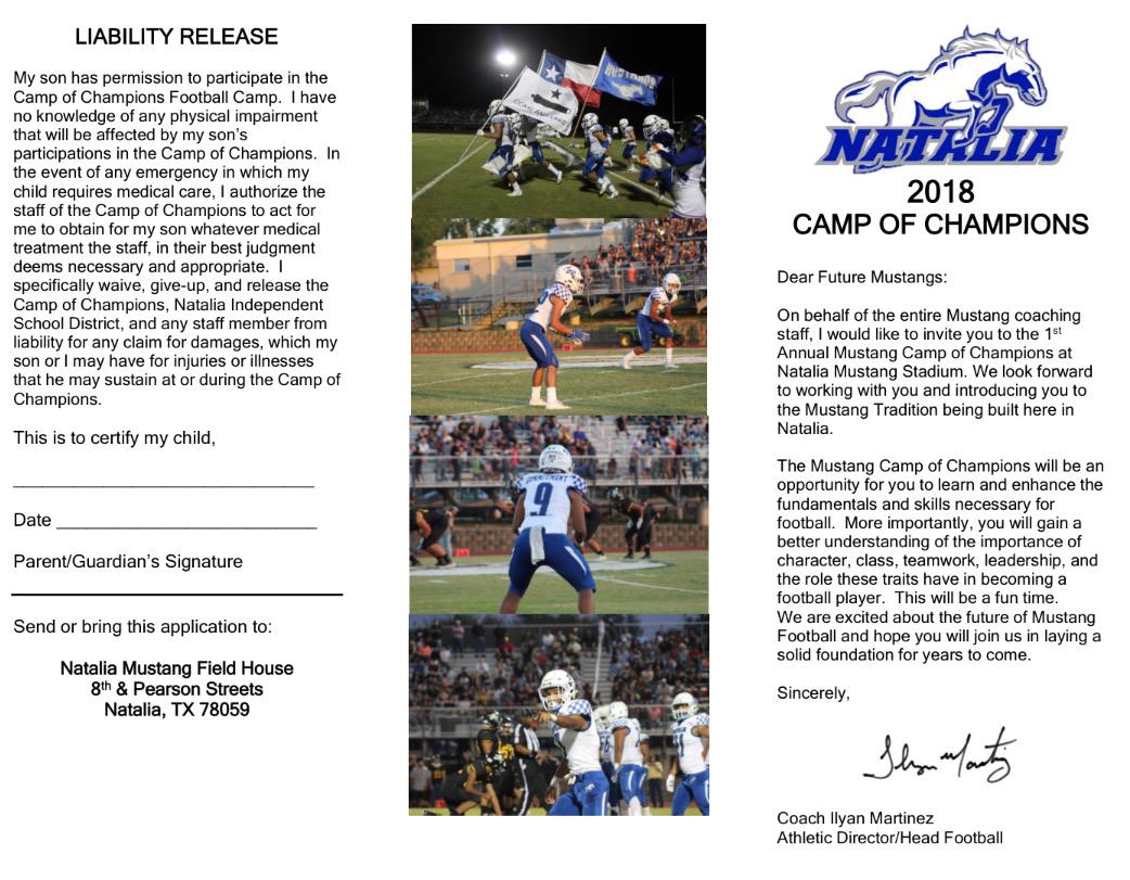 2018 Mustang Football Camp of Champions