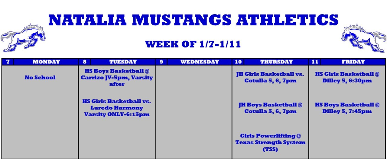 Week of 1/7/19 Weekly Schedule