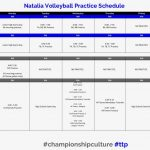 New Junior High and High School Volleyball Practice Schedule