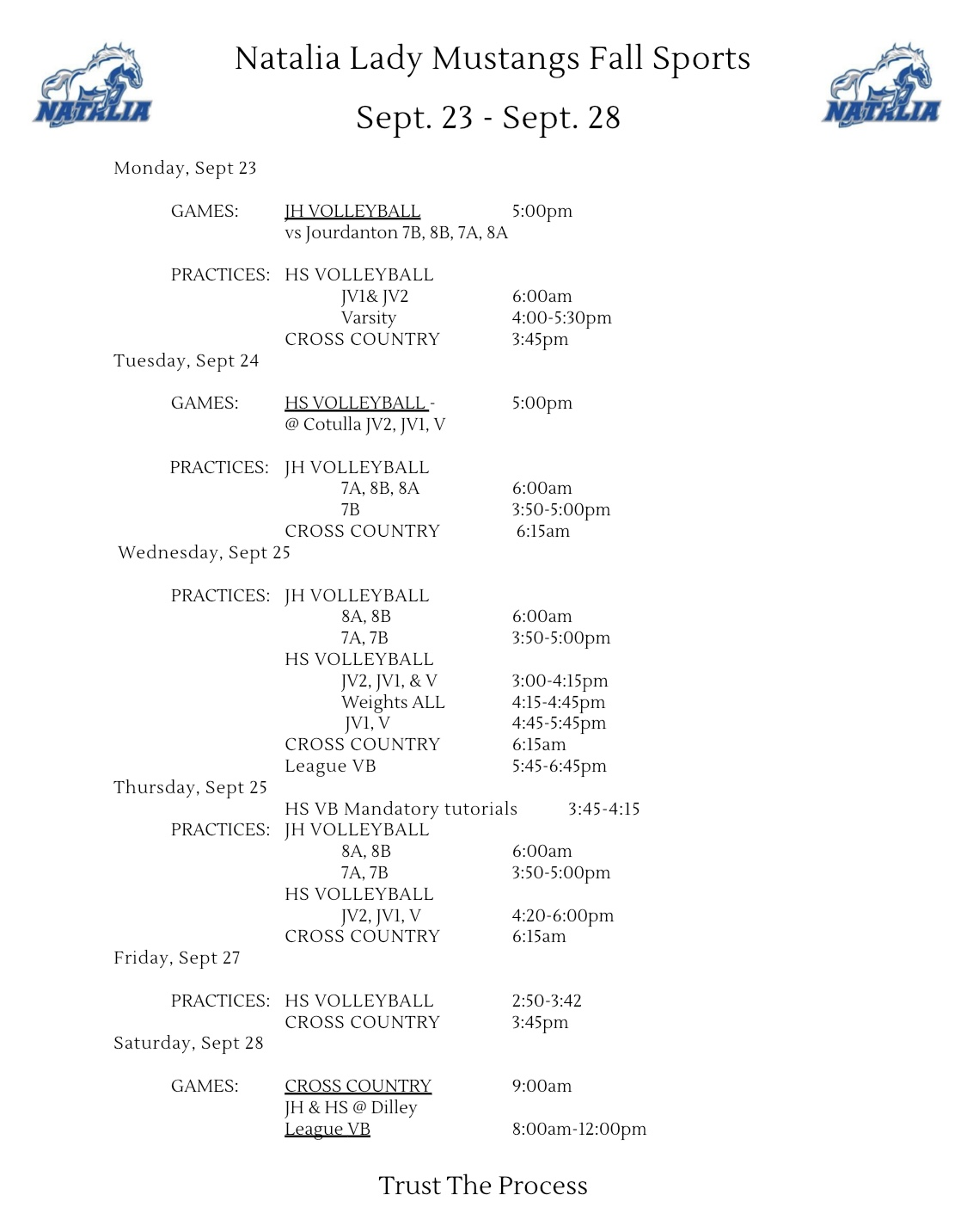Lady Mustangs Weekly Itinerary 9/23-9/28
