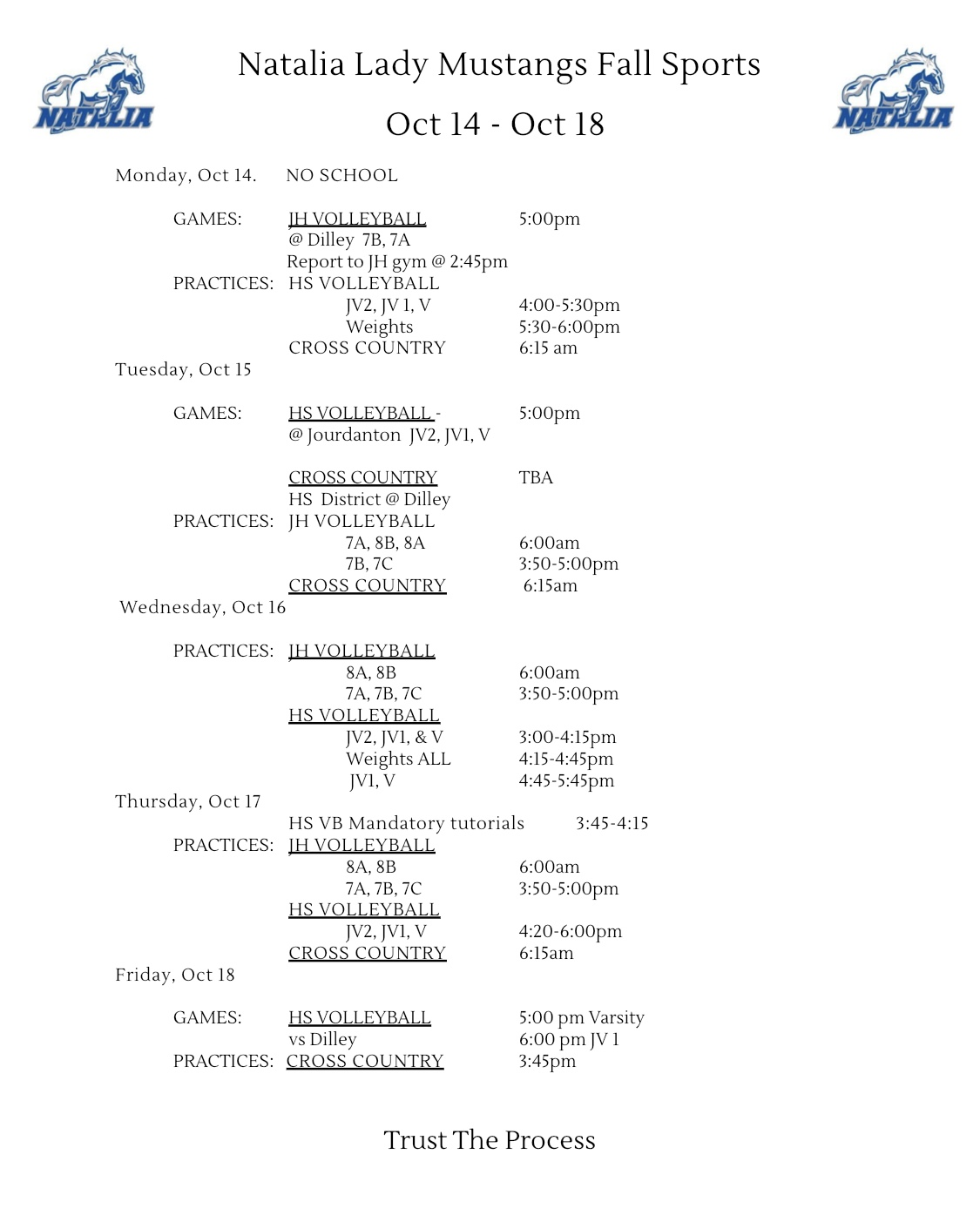 Lady Mustangs Weekly Itinerary 10/14-10/18