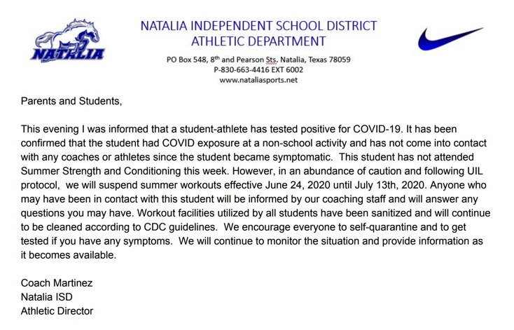 Summer S&C Suspended 6/24/20-7/13/20