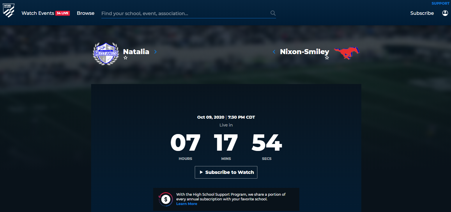 Natalia Mustangs vs. Nixon-Smiley Live online stream!