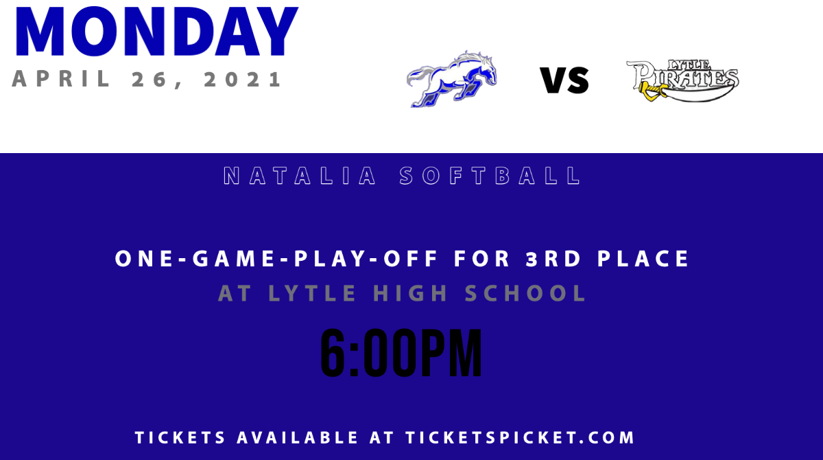Come support your Natalia Softball team as they compete for 3rd place Monday, April 26.