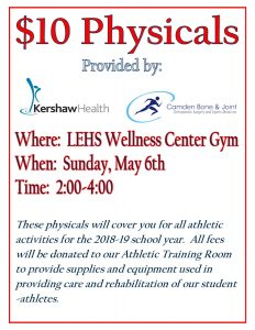 Flyer for Physicals on May 6th