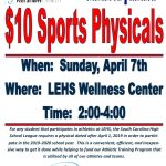 $10 Sports Physicals April 7th @ LE
