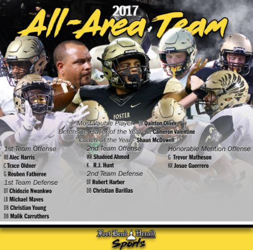 Foster Football 2017 All-Area Team