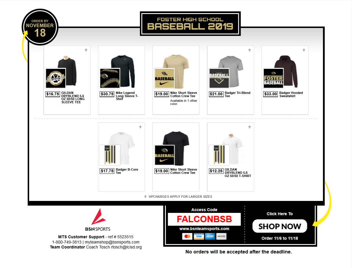 Foster Baseball online store open now until Nov 18th