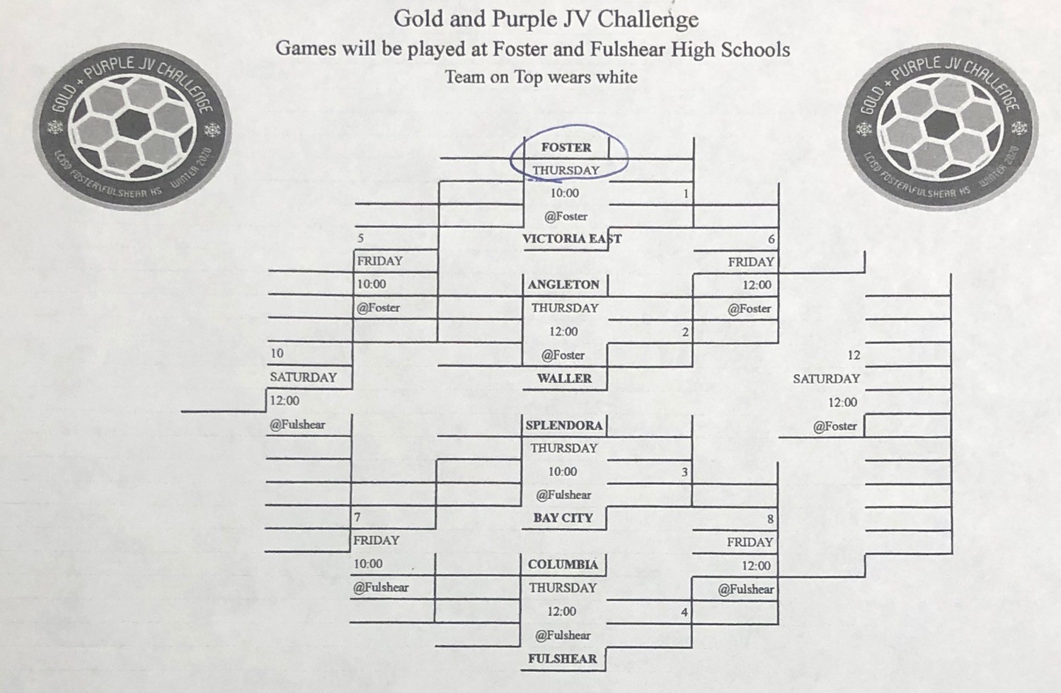 Women's Soccer, Gold and Purple JV Challenge Championship game is tomorrow at 12 at Fulshear HS