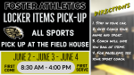 All-Sports Athletic Locker Items Pick Up Schedule, June 2-4, 8:30-4pm