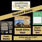 Featured Auction Items: Parking Spot, Safari Hunt, and Blanket