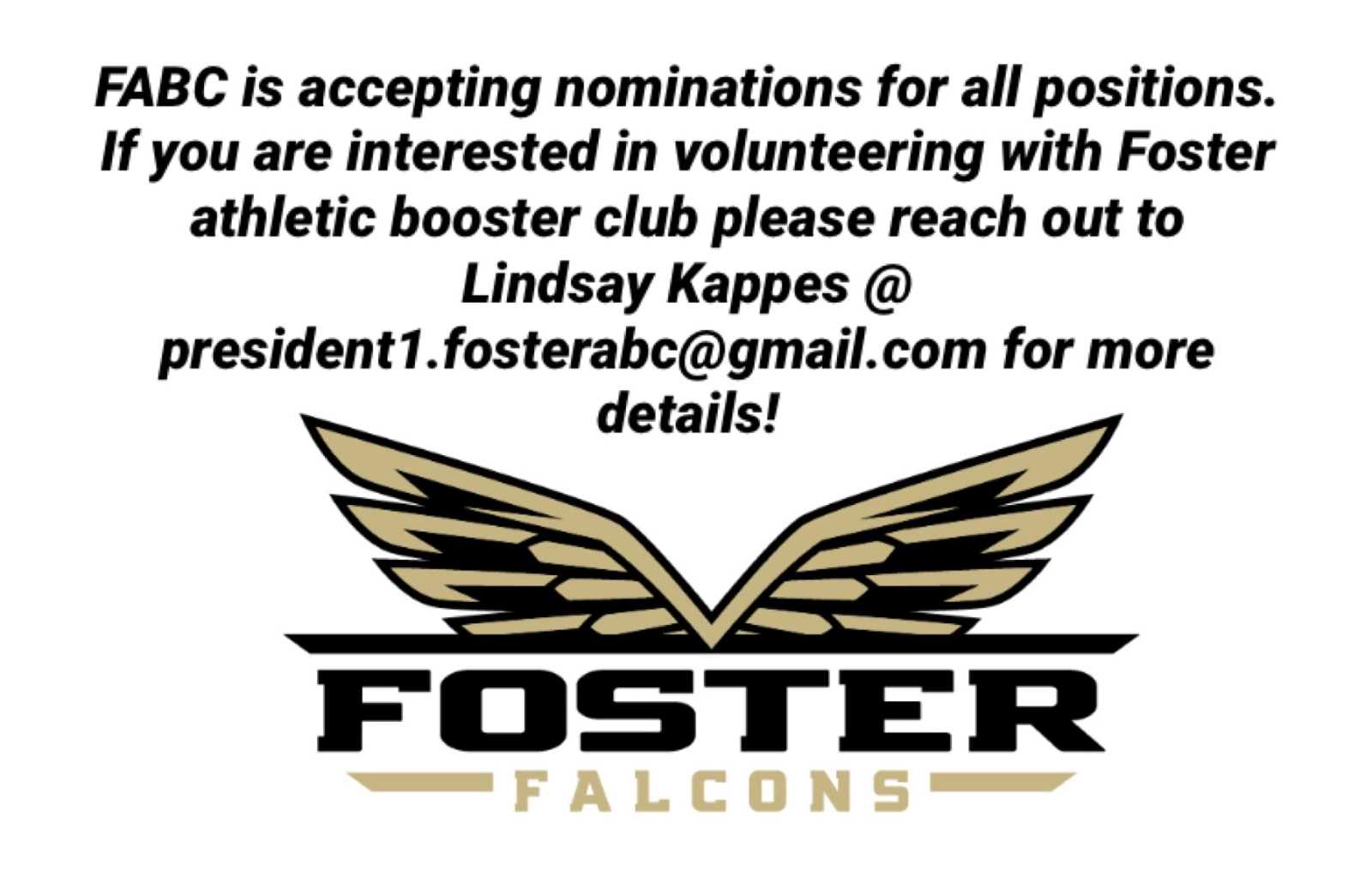 Volunteer with Foster Athletic Booster Club