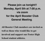 April Booster Club Meeting is tonight