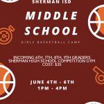 Sherman ISD Middle School Girls Basketball Camp