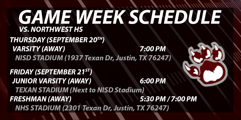 Football Schedule Change vs. Northwest
