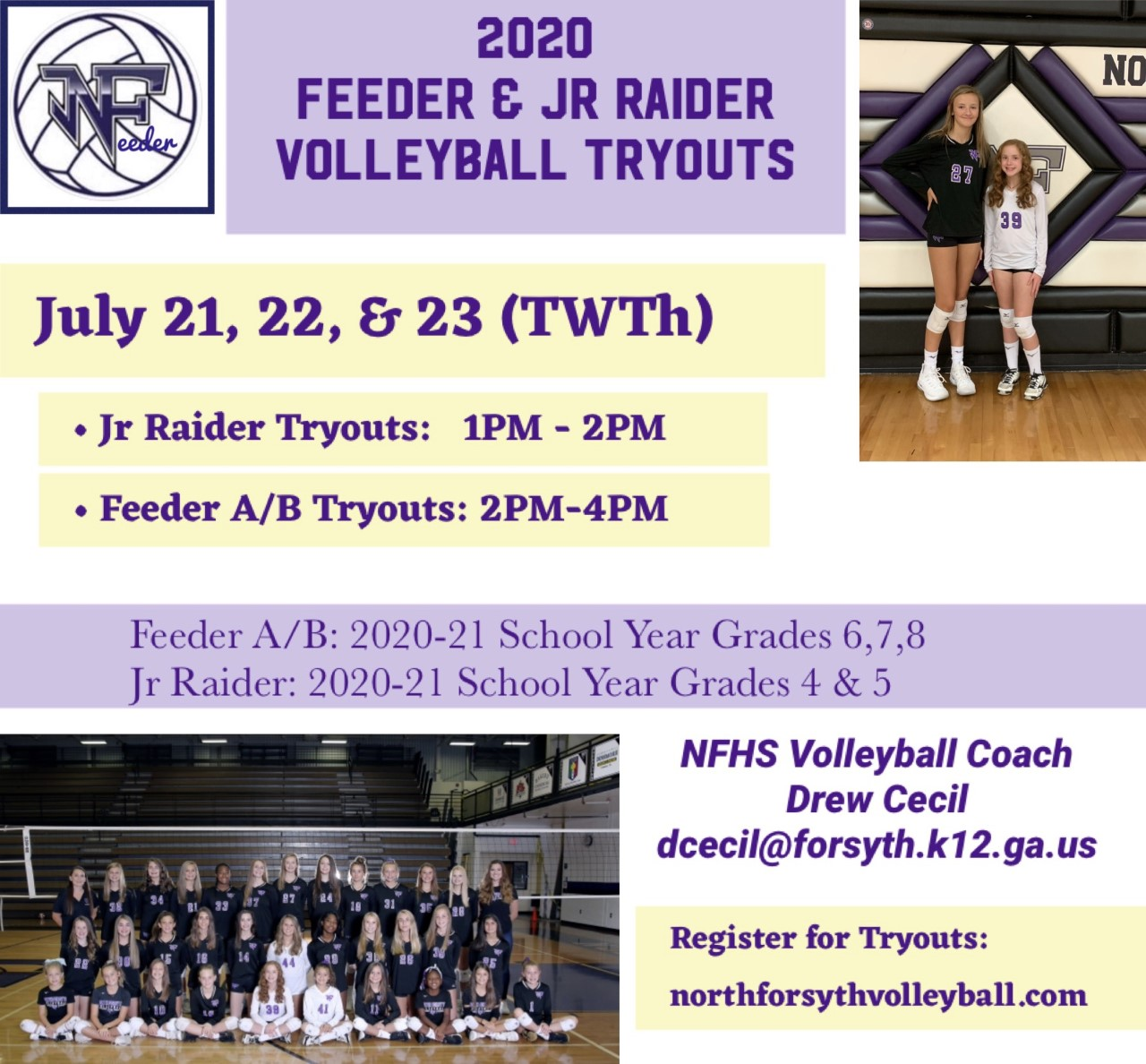 Volleyball: Feeder tryout dates announced