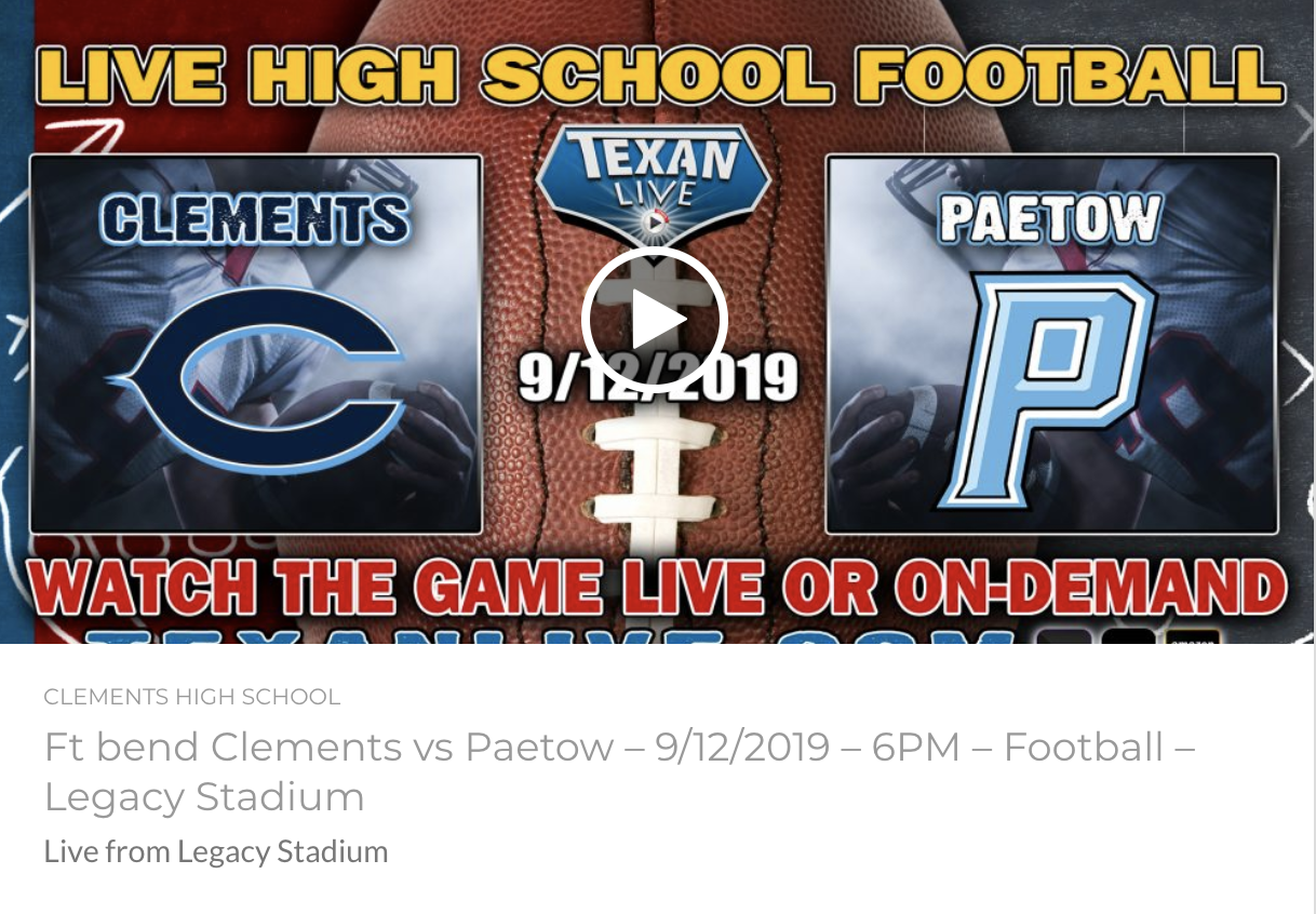 GAME DAY!! CHS Rangers vs Katy Paetow Panthers at Legacy Stadium | 6 PM Kickoff