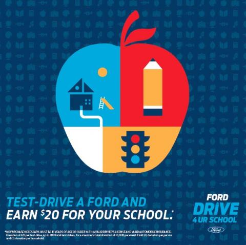 Test Drive a Ford and Earn Money for the School