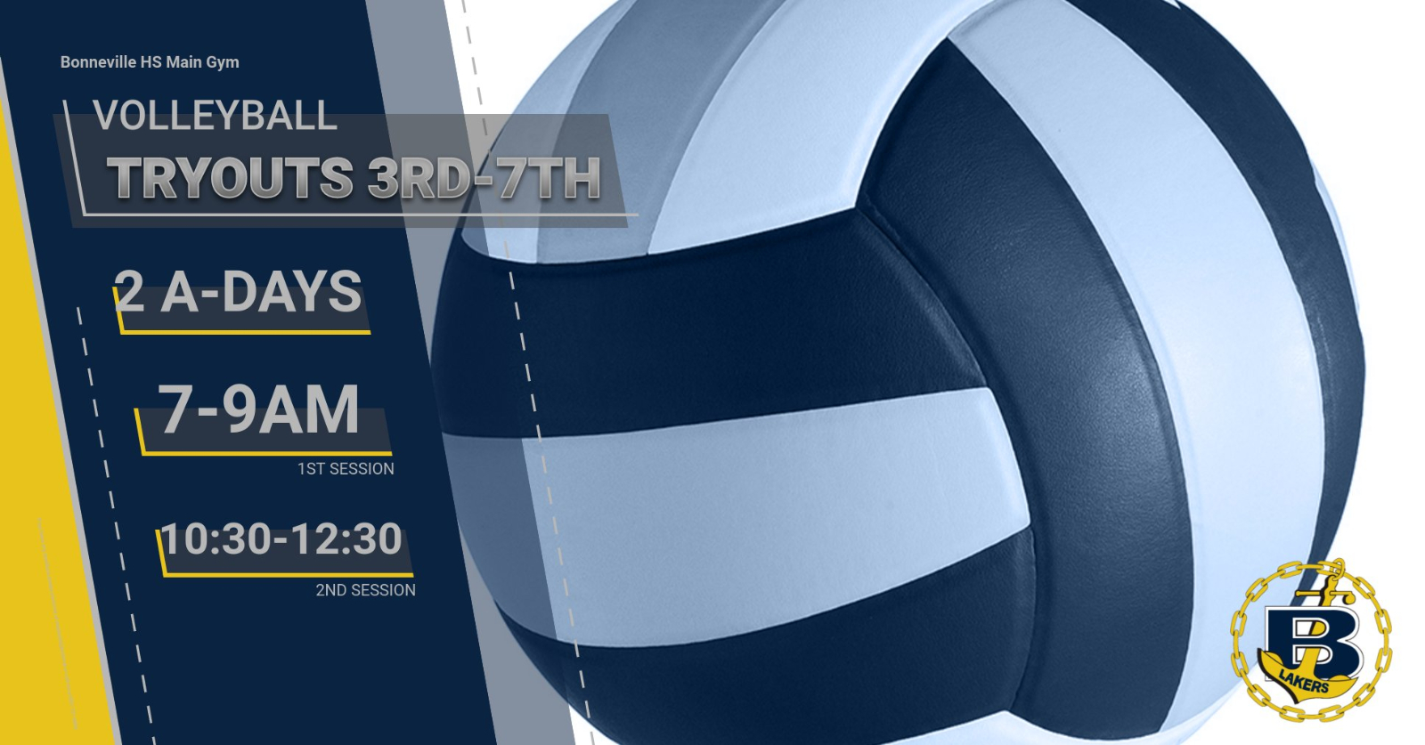 Volleyball Tryouts August 3rd-7th