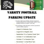 Varsity Football Parking Update