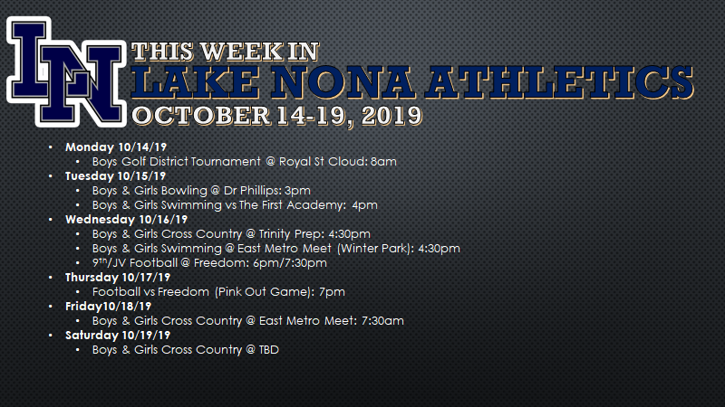 This Week in Lake Nona Athletics: October 14-19, 2019