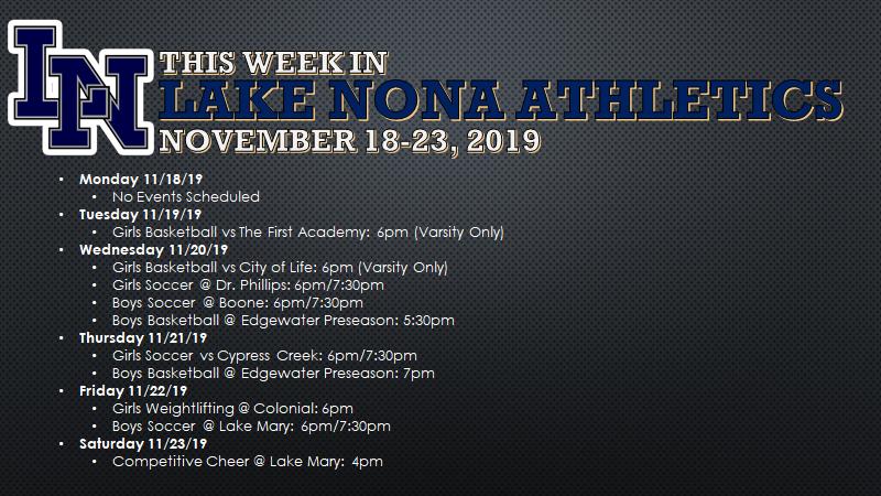 This Week in Lake Nona Athletics: November 18-23, 2019