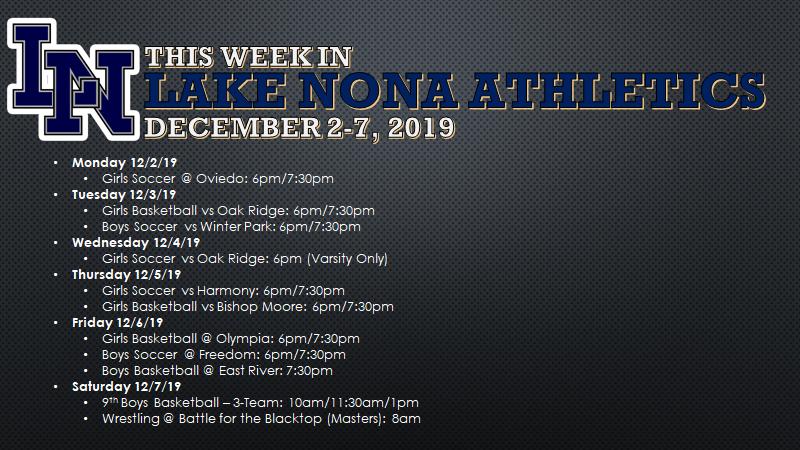This Week in Lake Nona Athletics: December 2-7, 2019